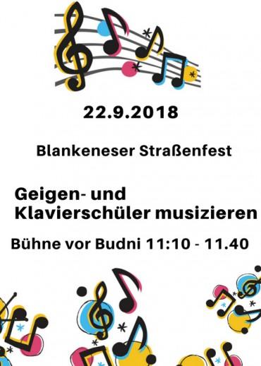 Wir spielen beim Blankeneser Straßenfest 22.9.2018